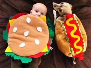 non-edible hotdog and hamburger